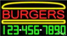 """NEW """"BURGERS"""" W/YOUR PHONE NUMBER 37x20 REAL NEON SIGN W/CUSTOM OPTIONS 15052"""