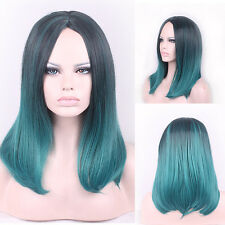 Ladies Medium Long Natural Straight Full Wig Womens Wigs Black Green Ombre 45cm