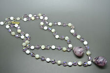Vintage Christian Dior 1960 moonstone bead purple poured glass dangle Necklace