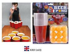 36 pc BEER PONG DRINKING GAME SET Cups Balls Party Pub Ping Men Man Fun Kit Gift