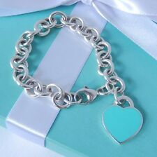 "Tiffany & Co Return To Tiffany Silver Blue Enamel Heart Charm 7.25"" Bracelet"