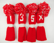 True Vintage Red & White Knit Golf Pom Pom Headcovers 1,3,5,X Colors Inside too!