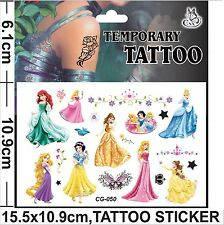 NEW Princess Ariel Snow White Childrens Cartoon Temporary Body Tattoo Sticker
