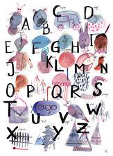 ABC Buchstaben Poster DIN A4 Plakat Alphabet Buchstaben Schulanfang Kinderzimmer