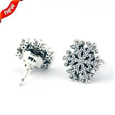SNOWFLAKE SILVER STUD EARRINGS CLEAR CZ .925 Sterling Silver
