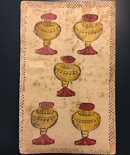 Five of Cups Chalice c1750 Antique Tarot Playing Cards Italy Colour Single +COA