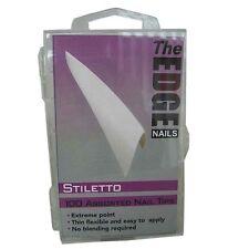 THE EDGE BOX 100 STILETTO FRENCH WHITE NAIL TIPS acrylic uv gel fibreglass