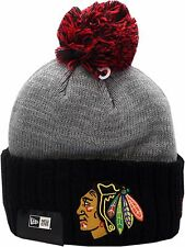 Chicago Blackhawks Knit Hat Cuffed Pom Flag Stated 12298