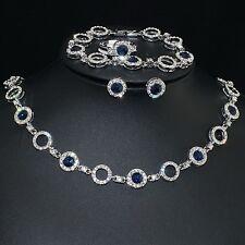 V438 S. Crystal 18K WGP Blue CZ Earrings Bracelet Necklace Set Ring Size 7
