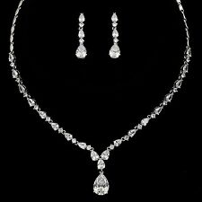 White Gold Plated Zirconia CZ Necklace Earrings Bridal Wedding Jewelry Set 00936