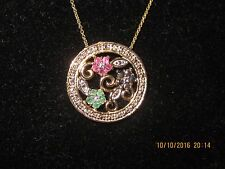 STERLING SILVER NECKLACE W GOLD OVERLAY ITALIAN FLORAL DESIGN 18""