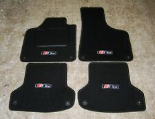 "Black Car Mats to fit Audi A3 8P LHD (2003-2012) + ""S-Line"" Logos (x4) + Fixings"