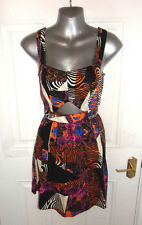 ❤ Gorgeous Size 10 Multi Dress Back Zip Cut Out Middle NEW+TAGS! FREE UK POSTAGE