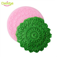 8cm Round Lace Pattern Texture Embossing Silicone Square Mat Cake Fondant Print
