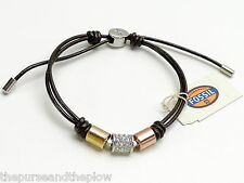 Fossil Leather Barrel Bracelet Brown Multi Tone Crystals New! NWT