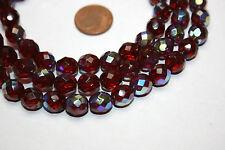 Strang rubin rote irisierend bedampfte facettierte Glasperlen aus Böhmen