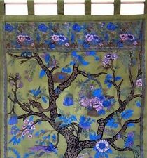 Handmade Cotton Tree of Life Tab Top Curtain Drape Door Panel 44x88 Olive Green