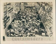 1949 Dislodged Cans in Grocery Store Earthquake Olympia WA Press Photo
