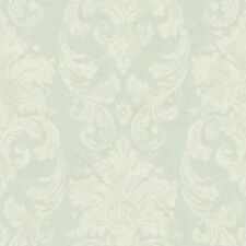 Velvet Damask Satin White & Soft Blue Raised Textured Wallpaper by York  RG4904
