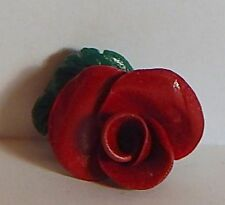 VINTAGE RED ROSE FIMO? RESIN FLOWER BROOCH HANDCRAFTED PIN