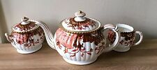 Lovely Antique Royal Crown Derby Teapot Cream & Sugar Set Imari circa 1888