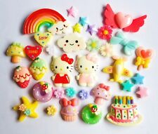 20 Pcs. Hello Kitty&Cartoon Resins Decoden Cabochon, DIY Phone Case Deco Den Kit