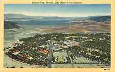 BOULDER CITY NV LAKE MEAD IN DISTANCE BIRD'S-EYE VIEW 1952 LINEN POSTCARD