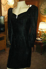 Vintage GUNNE SAX JESSICA McCLINTOCK Crushed Black Velvet SEXY Dress 13 Wiggle