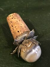 Antique Brass Silver Plated Stone Cork Wine Bottle Stopper Lid