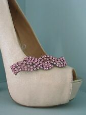 2 Pink Diamante Ribbon Style Clips for Shoes