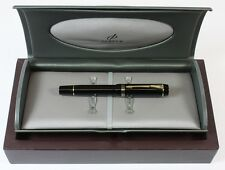 Parker Duofold Black Fountain pen MINI Gold Trim Medium Nib NEW