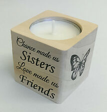 Beautiful Wood Sister Tea Light Holder Candle Sisters Friends Love Family Gift