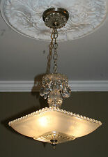 Antique frosted square glass custom art deco light fixture ceiling chandelier