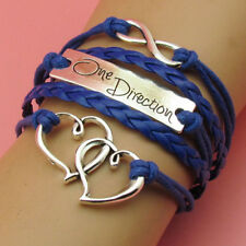 NEW charm one direction Heart Infinity Leather Cute Bracelet Silver Blue