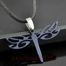 black Stainless Steel Dragonfly Hollow Pendants Necklace ST137