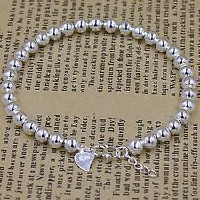 925 Sterling Silver Women's 8MM Ball Beads Charm Chain Bracelet