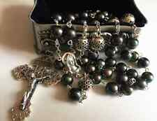 AAA Black Tahitian Pearl + Bali Sterling Silver Beads Rosary Cross Necklace box