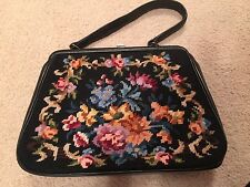 Vintage Black Leather Floral Multi Color Needlepoint Pettipoint Purse