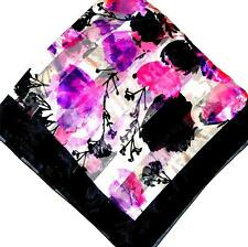 SCARF Large Square Ivory Background Hot Pink Black Lavender Floral BOLD FLOWERS
