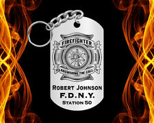 Answering the Call, Maltese Steel FIREFIGHTER Keychain with NAME & Dept! Gift