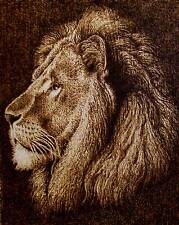 ORIGINAL DRAWING-PYROGRAPHY/WOODBURNING-MAJESTIC LION-DRAWING WITH FIRE