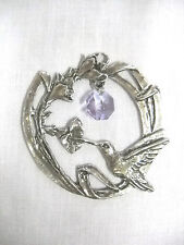 HUMMINGBIRD w FLOWERS & FOLIAGE & LAVENDER PURPLE CRYSTAL SUN CATCHER ORNAMENT