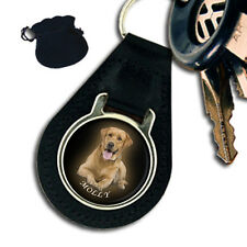 PERSONALISED, CUSTOM YOUR PHOTO, PETS, DOGS LEATHER KEYRING / KEYFOB GIFT