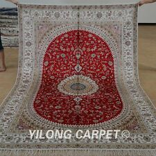 Yilong 6'x9' Handwoven Silk Persian Rugs Tabriz Living Room Red Carpet 1204