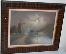 Charming Antique Pastel Painting Moonlight  Over Mountain and Windmill