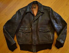 Vintage CALIFORNIAN Type A-2 Dark Brown HORSEHIDE Leather Flight Jacket Size 40