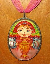 Russian UNIQUE hand painted SAMOVAR Matryoshka Doll Pendant in German Silver