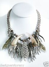 Fenton & Fallon Massive Horn Chain Silver Tone Necklace