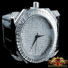 Mens White Gold Finish Lab Diamond Iced Out Genuine Leather Band Jojino Watch