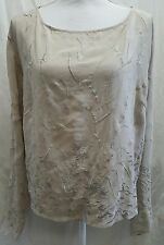 Womens Cami Bell Sleeve Embroidered 100% Silk Floral Blouse Top Taupe Sz L